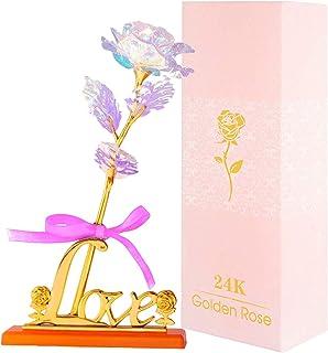 Rosa 24 K Rosa de la Galaxia, Flores Artificiales de Rose con Soporte de Exhibición en Caja de Regalo, día de San Valentín, día de la Madre, Aniversario, Cumpleaños, Boda, Navidad