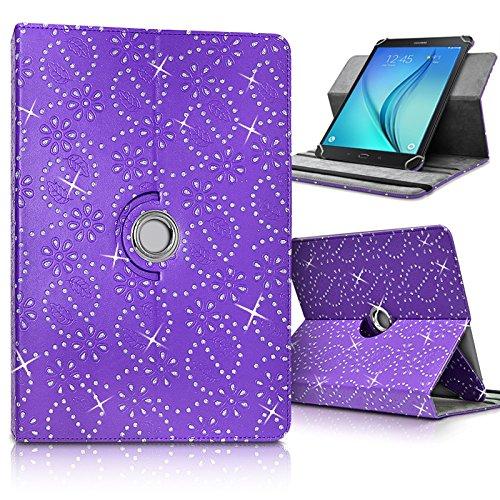 Seluxion–Funda de Protección y Soporte Universal L (Dimensions 27,5cm x 19cm), con diamantes Color Morado Para Tablet Samsung Galaxy Tab S39.7