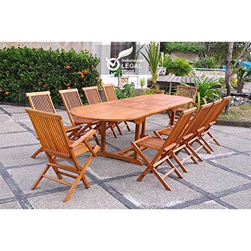JFB Le Togian : Salon de Jardin Teck huilé 12/14 pers. 2 fauteuils 8 chaises + Table Ovale 300CM