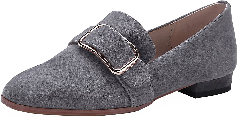 Rismart Women's Smoking Slippers Suede Buckle Chunky Heel Slip on Flats