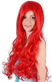 Wig mermaid princess ariel red long roll wig anime cosplay wig