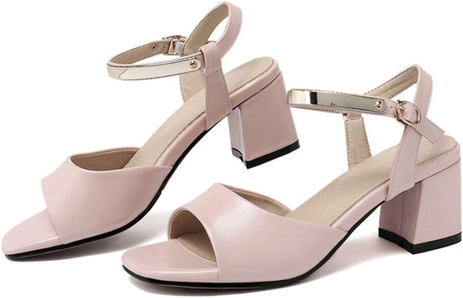 Women Sandals Pu Leather Metal Decoration Square Open-Toed Buckle Elegant Square High Heel