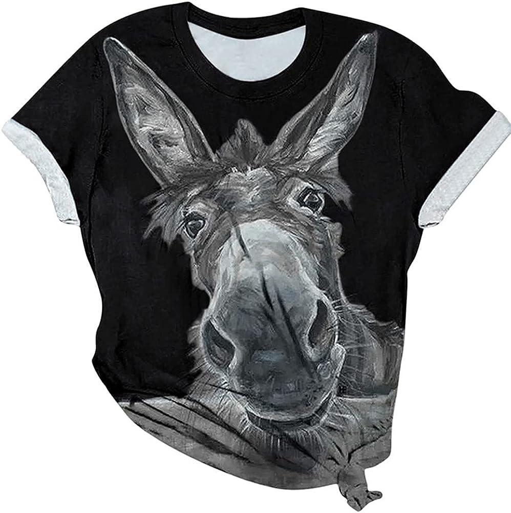 HUPAI Women's Short Sleeve Shirt Printed SALENEW very Memphis Mall popular Donkey Crewneck To Head