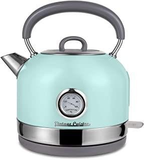 Retro Electric Kettle with Temperature Gauge by Vintage Cuisine (Mint)