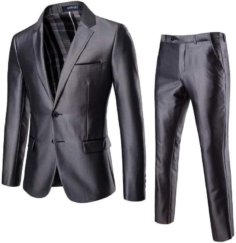 Rrive Men Slim Fit 2 Piece Suit for Men One Button Casual Formal Wedding Tuxedo