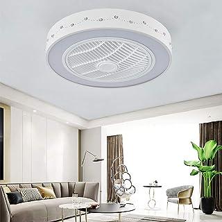 HKLY Moderna Luz del Ventilador, Ventilador de Techo con Lámpara LED Luz de Techo Control Remoto Regulable Restaurante Sala de Estar Invisible Silencioso Casa con Ventilador Eléctrico,72W,Ø55cm