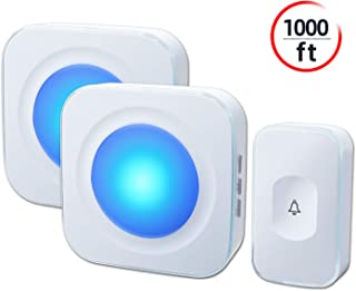 Wireless Doorbell, JSIEEM Waterproof Doorbell Chime Operating at 1000 feet with Flash LED Light, 36 Melodies, 4 Volume Levels, for Home, Office (2 Receivers& 1 Touch Button, White)