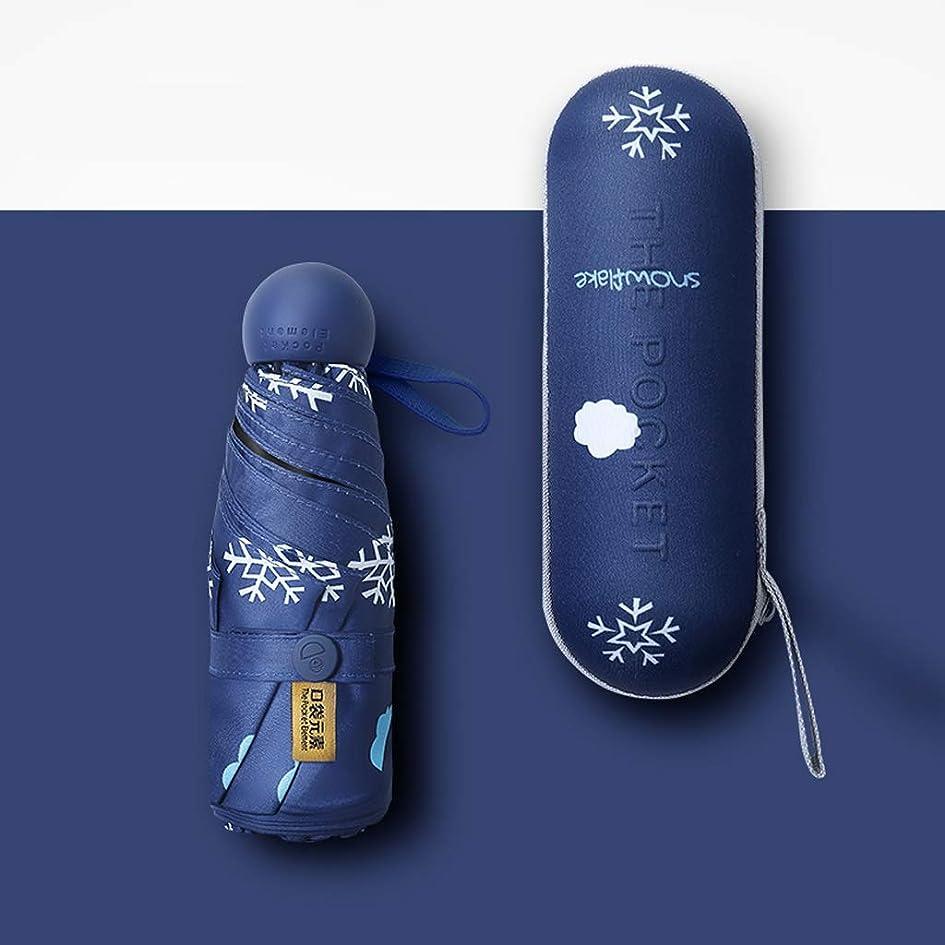 打たれたトラック海外でぐるぐる家庭用傘ポケットミニサンパラソルサンプロテクションUV超軽量スモールパラソル雨と雨の傘ブルー、ホワイト HYBKY (Color : Blue)