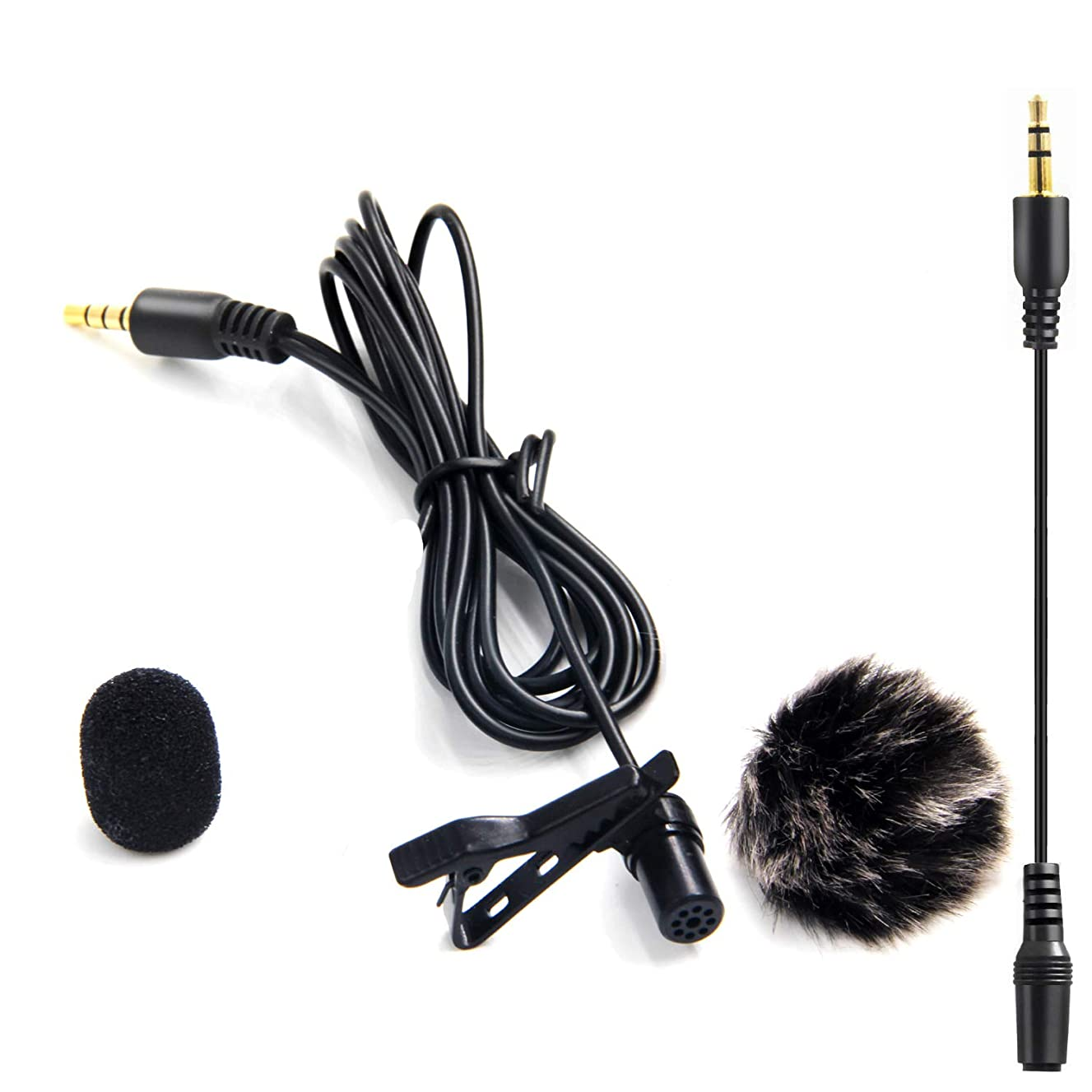 20FT Lavalier Microphone with 1 Windscreen Muff,Nicama LVM3 Lav Lapel Clip-On Mic for DSLR Camera Canon Nikon Camcorder Audio Recorders Smartphones iPhone PC Podcast