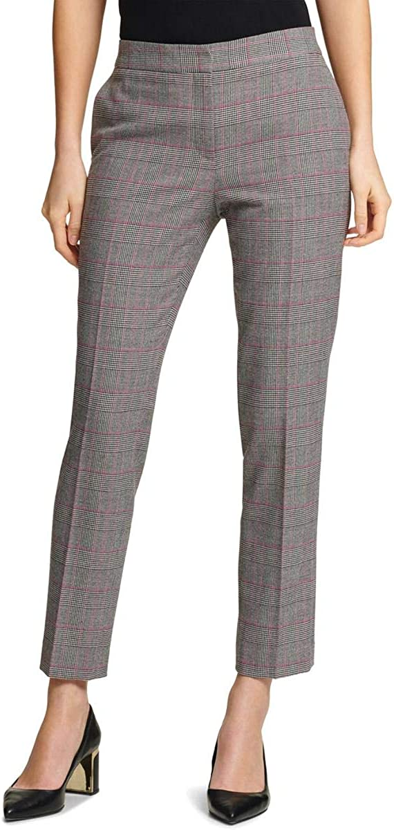DKNY Womens Houndstooth Casual Trouser Pants, Black, 16