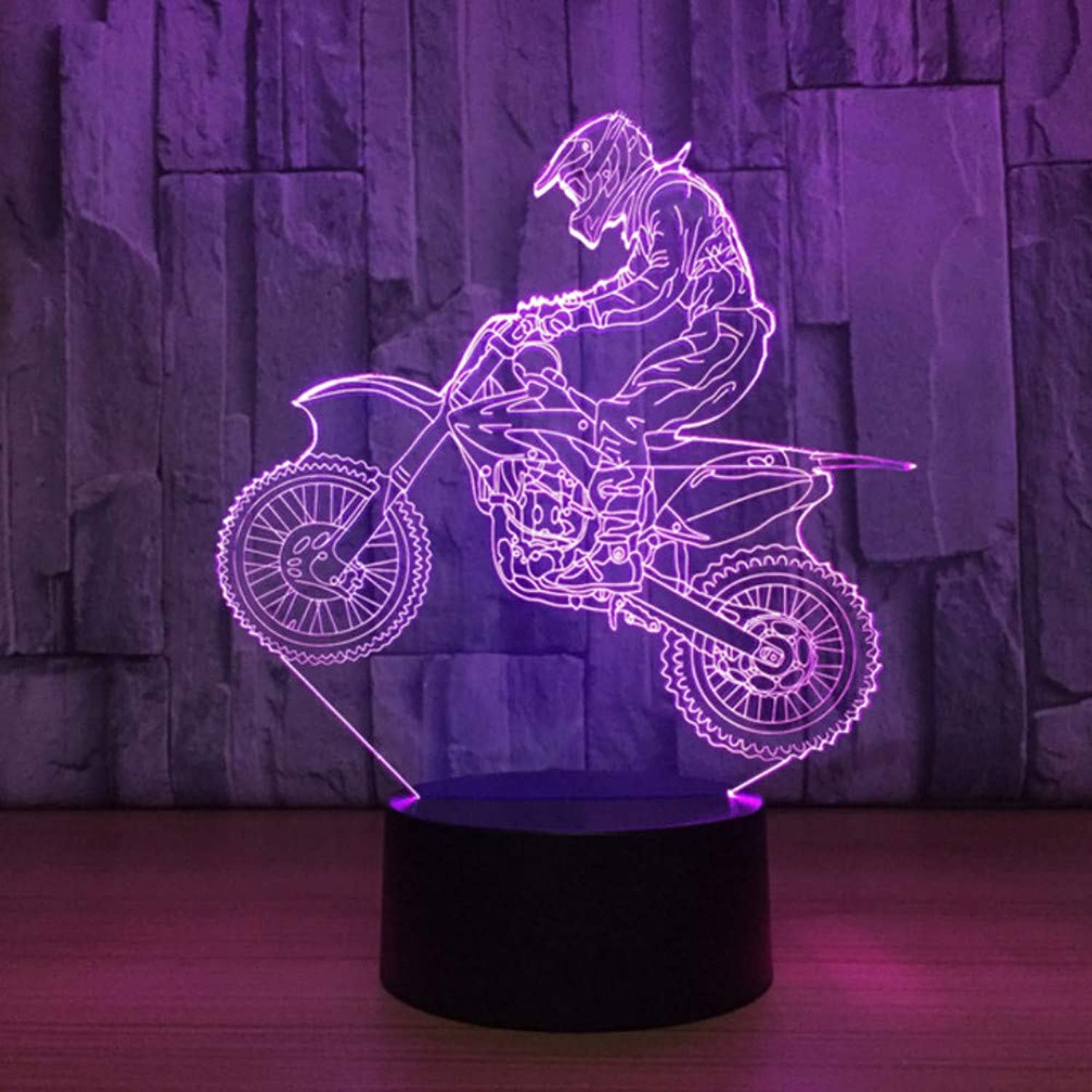 Zonxn Bedroom Decor Sleep USB Led Kids Touch Motorcycle 3D Table Lamp Cross Country Motorbike Modelling Night Lights Lighting Fixture