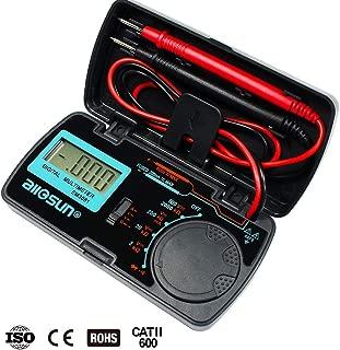 allsun Manual Range Digital Multimeter Mini 6 Functions Handheld Folding Digital Multimeter 3-1 2 Digit Pocket DMM DC/AC Voltmeter DC Ammeter Ohm Continuity Diode Testing Tone Tester EM3081