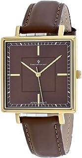 Christian Van Sant Women's Callista Stainless Steel Quartz Leather Strap, Brown, 18 Casual Watch (Model: CV0416)
