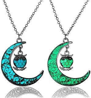 LightOnIt Magic Glow in Dark Vintage Luminous Necklace-Aqua Large Star Locket Pendant Red Blue Green