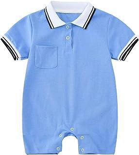 Bebé Mameluco de Algodón Mono Peleles Niños Niñas Manga Corta Camisa Polo Pijama Ropa de Dormir