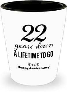 22nd Anniversary Gifts for Her Shot Glass - Wedding Anniversary Gifts for Her 22 Years Down Unique Cute for Girlfriend Wife Women Friend Marriage