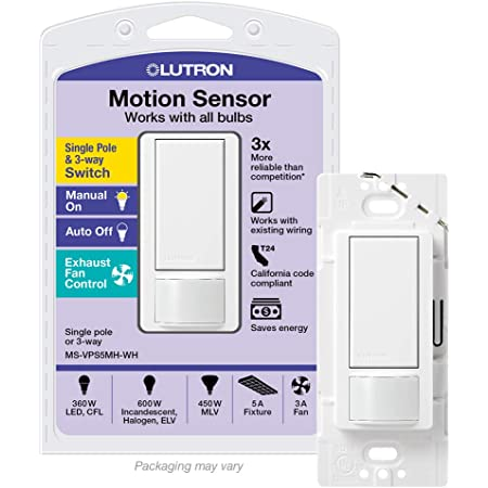 Lutron MS-VPS5M-WH Maestro 600 Watt Single Pole/3-Way Vacancy Sensor  Switch, White - Motion Activated Wall Switches - Amazon.comAmazon.com