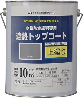 アトムハウスペイント 水性防水塗料 遮熱トップコート グレー 3Kg