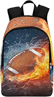 American Football Ball in Fire and Water Casual Daypack Travel Bag College School Backpack for Mens and Women