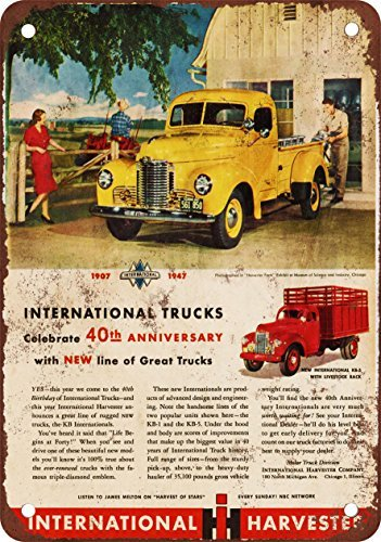 1947 International Trucks Vintage Look Reproduction Metal Tin Sign 8 x 12 inches