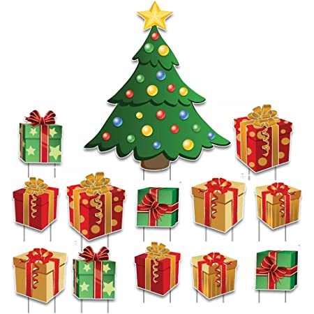Amazon Com Victorystore Yard Sign Outdoor Lawn Decorations Christmas Tree With Presents Yard Decorations Includes Stakes Home Kitchen
