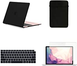 TOP CASE MacBook Air 13 Inch Case A1932 with Retina Display fits Touch ID 2019 2018 Release, 4 in 1 Essential Bundle Rubberized Hard Case, Keyboard Cover, Sleeve, Screen Protector - Black