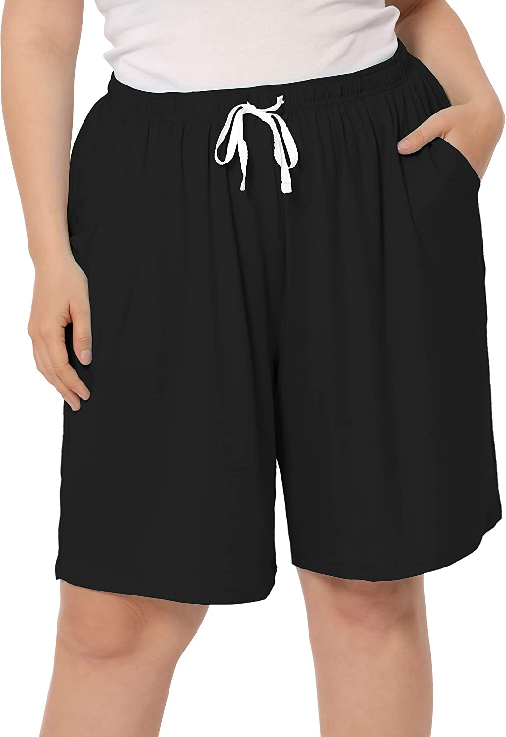 ZERDOCEAN Women's Plus Size Casual Lounge Shorts Comfy Relaxed Pajama Bottoms Drawstring with Pockets
