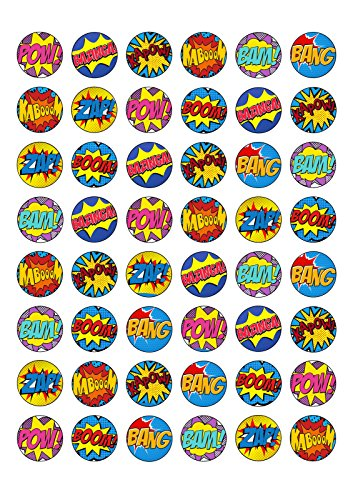 48 Edible Wafer Paper Superhero Retro Pow Zap Comic Book Style Cake Toppers Decorations by Top That