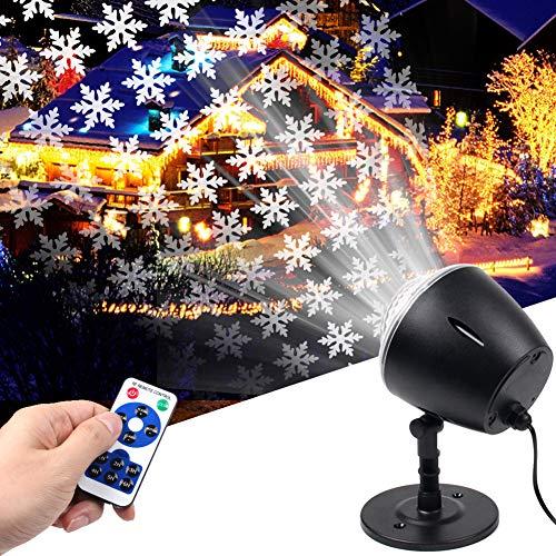 Christmas Snowflake Light Projector,White Moving Snowflake Light Projector Halloween Outdoor Decorations Waterproof