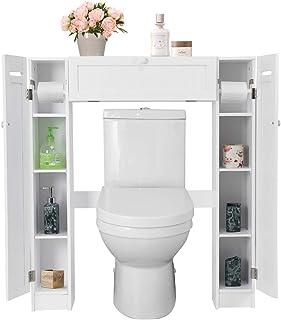 GOPLUS Etagère Dessus Toilette, Meuble de Salle de Bains, 4 Casiers des Deux Côtés, Support pour Porte Papier Toilette, 87...