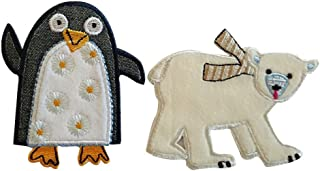 Polar Bear 8X7Cm Penguin 7X8Cm Iron-On Designer Patch Used for Crafts Jeans Clothing Fabric Gifts to Iron On Sew On Iron On Patches Personally Clothes Birthday Christening Birth Application Sports Fo