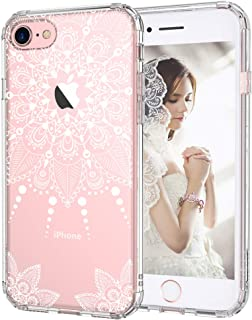 MOSNOVO iPhone 7 Case, iPhone 7 Clear Case, White Henna Mandala Floral Lace Clear Design Printed Transparent Hard Case with TPU Bumper Protective Back Case Cover for iPhone 7 (2016)