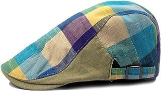 Gankmachine Gorra de los Hombres del Enrejado del Color Sombrero de la Boina Adjustiable Plana Tapa Superior de la Boina(T...