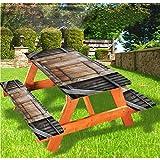 LEWIS FRANKLIN Cortina de ducha Antiguas Cubiertas de mesa de picnic de lujo, estilo rústico, puerta de madera rural con borde elástico, 28 x 72 pulgadas, juego de 3 piezas para mesa plegable