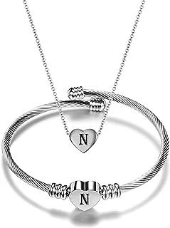 مجموعة مجوهرات القلب ستانلس ستيل مع سلسلة و قلادة للنساء والفتيات