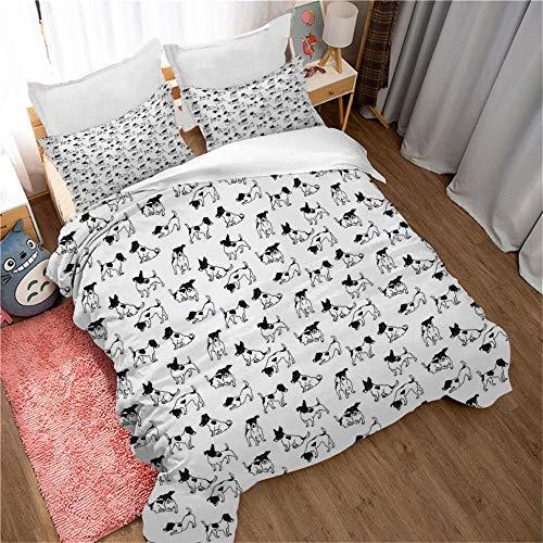 YMXMYJ Juego de Cama Infantil Cachorro Blanco y Negro Impreso en 3D con 2 Fundas de Almohada Juego de Cama con Cierre de Cremallera 220x260cm