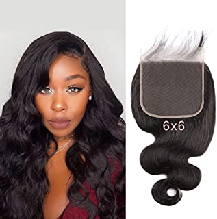 SingleBest 6x6 Lace Closure Body Wave Human Hair Brazilian Virgin Hair Free Part Closure With Baby Hair Natural Color 12 inches