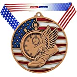 Decade Awards Track & Field Patriotic Engraved Medal, Bronze - 2.75 Inch Wide Running Third Place Medallion with Stars and Stripes American Flag V Neck Ribbon - Customize Now