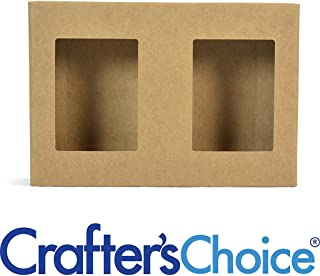 10 Crafter's Choice Kraft Double Bar Soap Box with Windows - Homemade Soap Packaging - Soap Making Supplies - 100% Recycled Materials - Made in USA! - Pack of 10