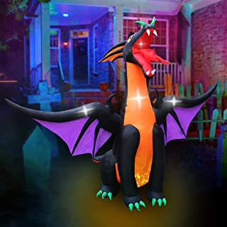SEASONBLOW 10 FT Animated Fire & Ice Dragon with Wings, Inflatable Halloween Decoration for Indoor Outdoor Home Party Lawn...