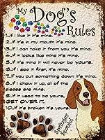 私の犬のルール メタルポスタレトロなポスタ安全標識壁パネル ティンサイン注意看板壁掛けプレート警告サイン絵図ショップ食料品ショッピングモールパーキングバークラブカフェレストラントイレ公共の場ギフト