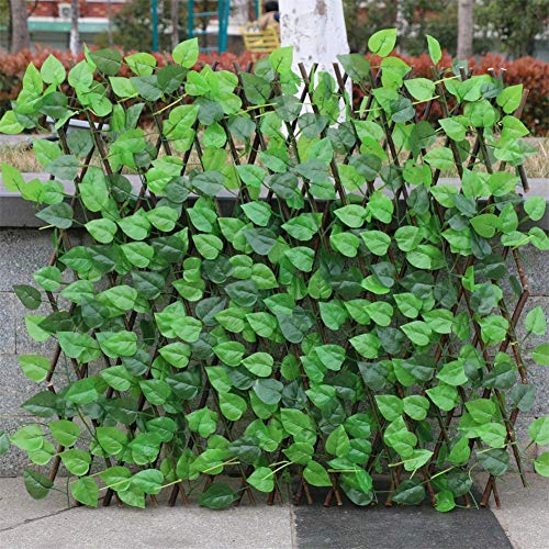 Seasaleshop Artificial Ivy Leaf Hedge Screening, Expanding Willow Trellis With Leaves, Plants Hanging Panels Decorative Fence Privacy panel for Garden Backyard Home