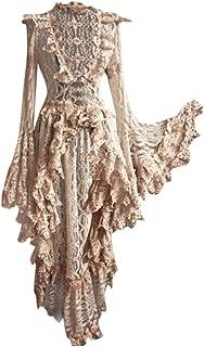 Ellymi Medieval Retro Gothic Court Dress Solid Color V-Neck Lace Stitching Vintage Dress Asymmetrical Hem Lace Patchwork Dresses Beige
