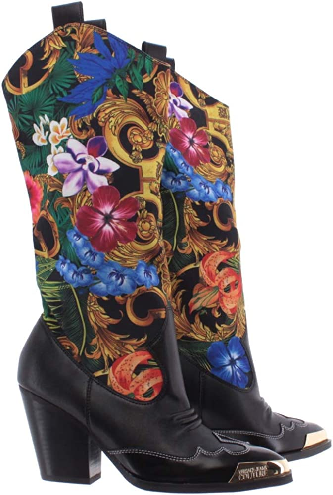 Versace jeans couture stivali donna in pelle  e tessuto EOVVBS12 71344 M09