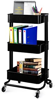 Lagute Solide 3-Tier Utility Cart with Wheels, Heavy Duty Metal Mesh Rolling Mobile Storage Organizer for Office Home Kitchen Bedroom (Black)