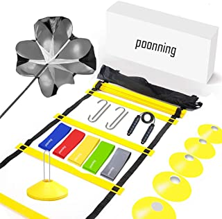 Polynea Speed Agility Training Set– Increase Speed Fitness with 20 ft/12 Rung Agility Ladder, 10 Cones, 5 Latex-Free Resis...