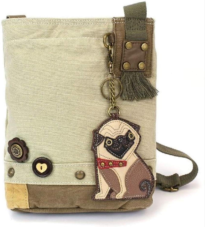 Chala Purse Handbag Sand Canvas Crossbody & Key Chain Tote Bag New Pug Puppy Dog