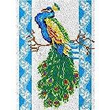 Juego de alfombras de gancho de pavo real verde y azul para adultos y niños, kit de ganchillo, para colgar en la pared, para decoración del hogar, 115 x 80 cm