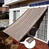 Außenterrasse/Markise/Fensterabdeckung 90% Sonnencreme Sonnenblende Sichtschutz mit Ösen für Pergola oder Pavillon Beige Braun gestreift (Größe: 180 cm & Times; 240 cm / 6 '& Times; 8'