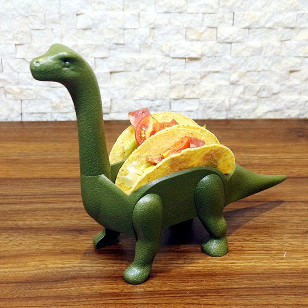 SilkLove Taco Stand Rack Tray, Plastic Long Necked Dinosaur-Shaped Food Server Taco Holders, Dinosaur Taco Stand for Hot Dogs, Burritos, Cookies (Dark Green)